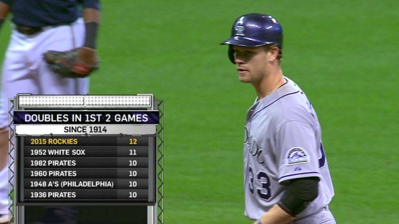 Rockies tie record with 12 2Bs through 2 games