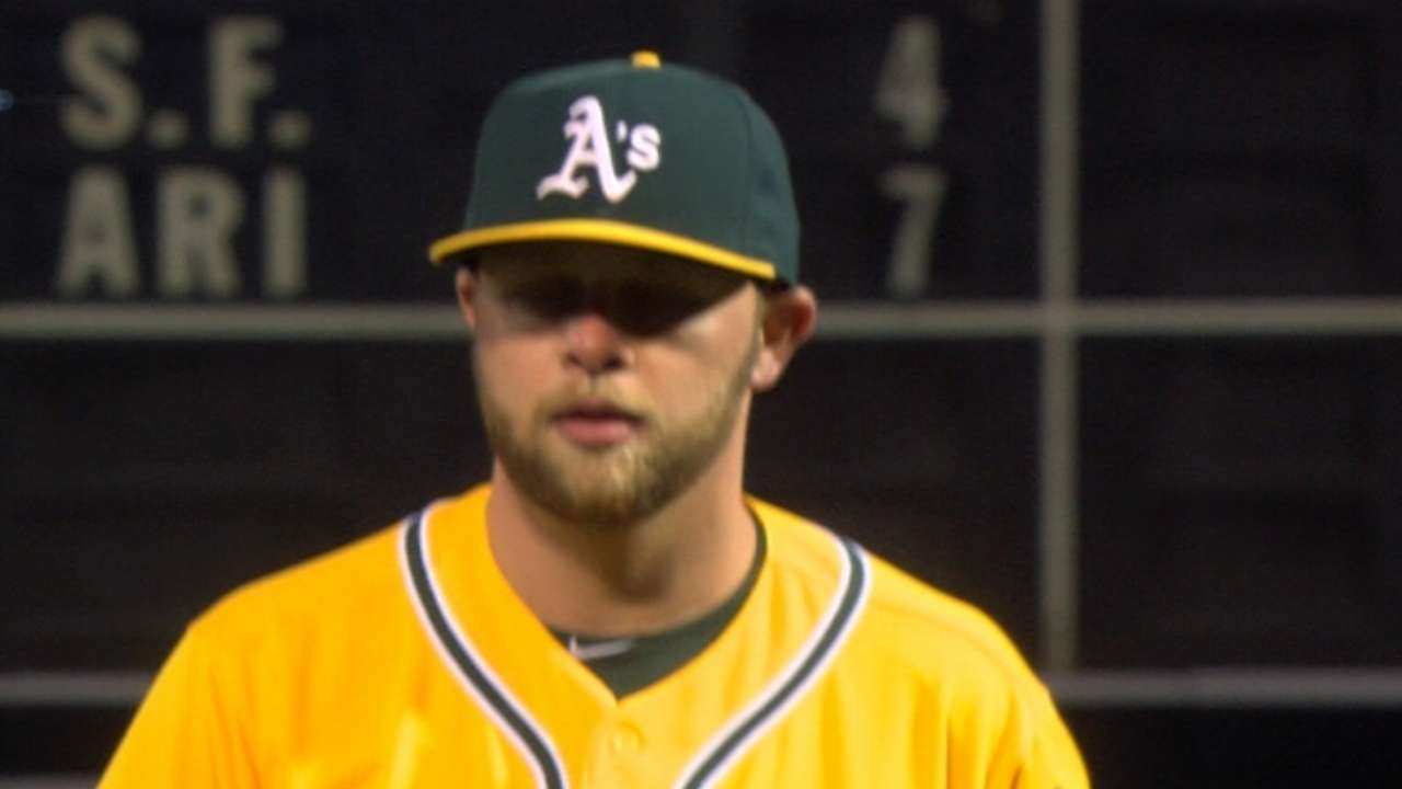 Hahn's nasty stuff on display in A's debut