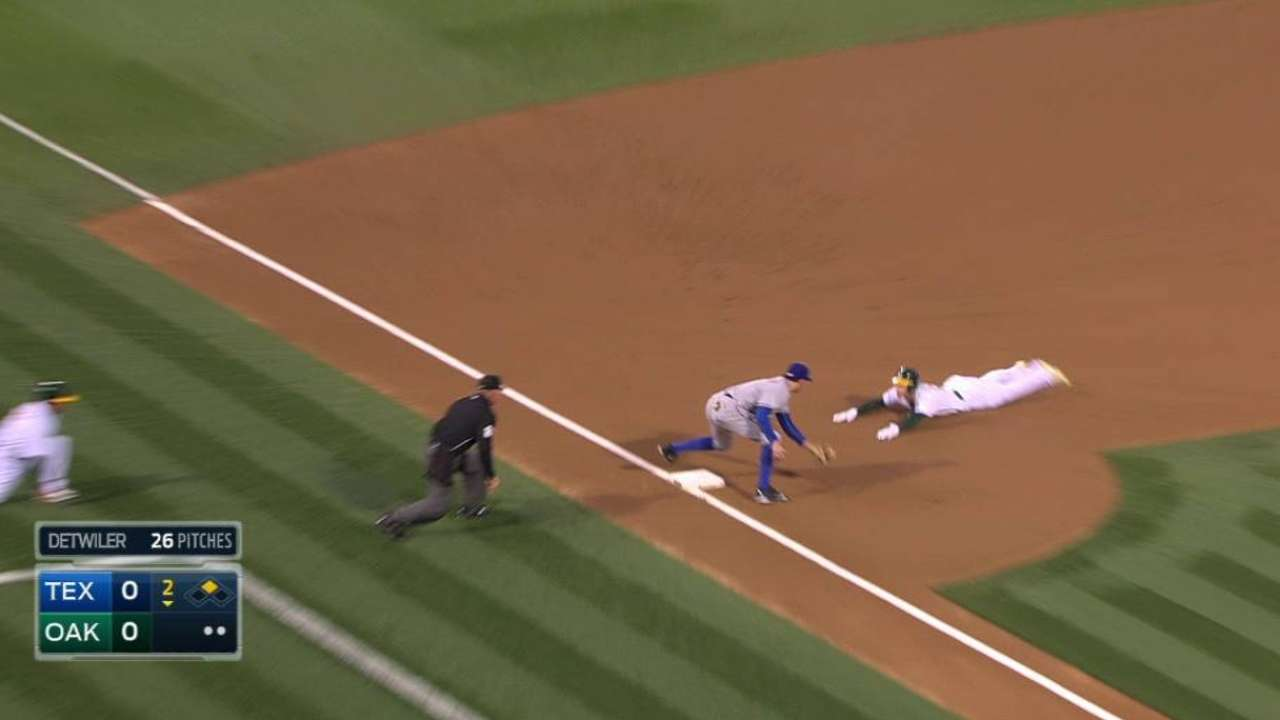 Rangers combine for out at third