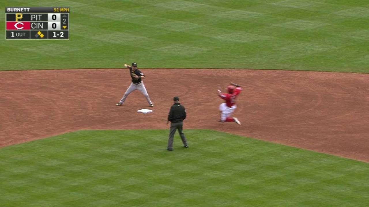 Burnett forces double play