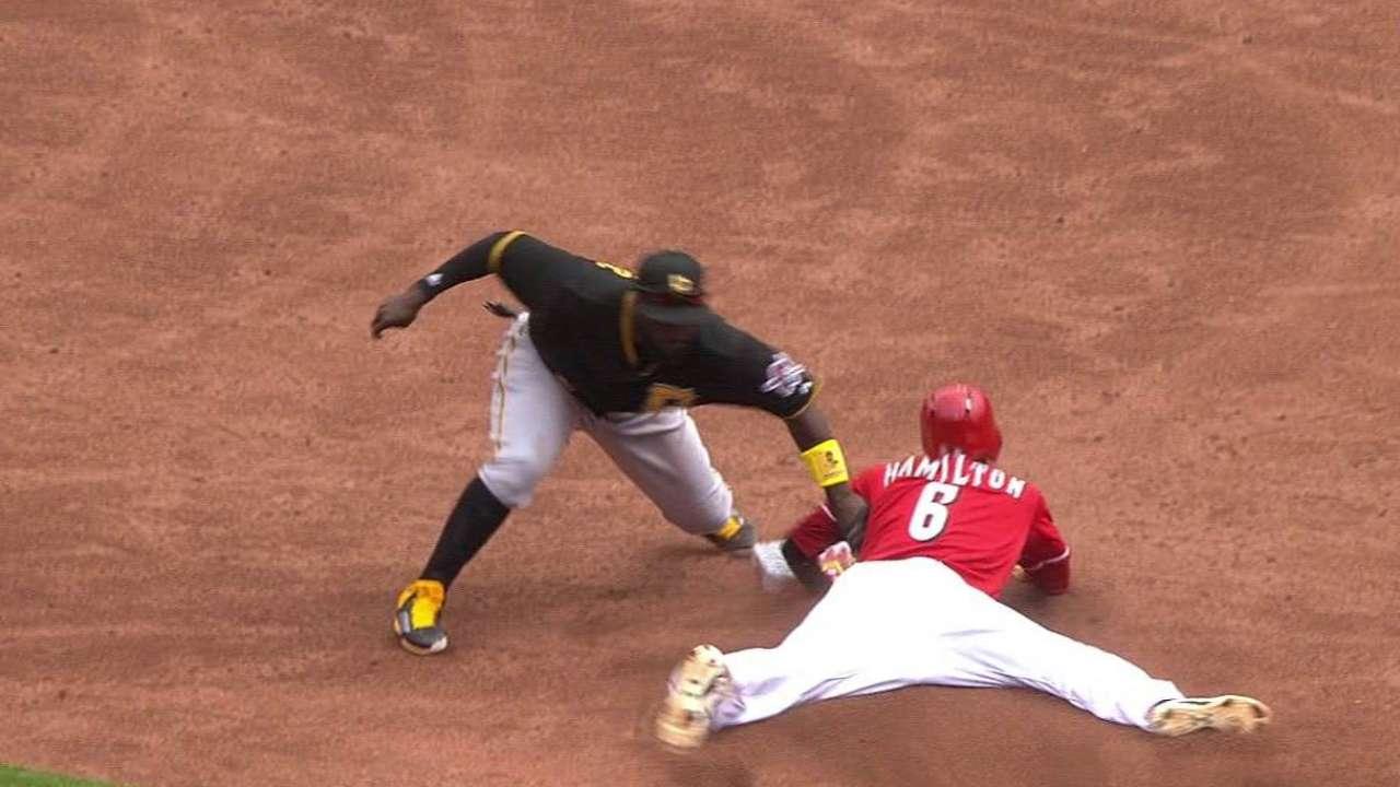 Hamilton swipes second base