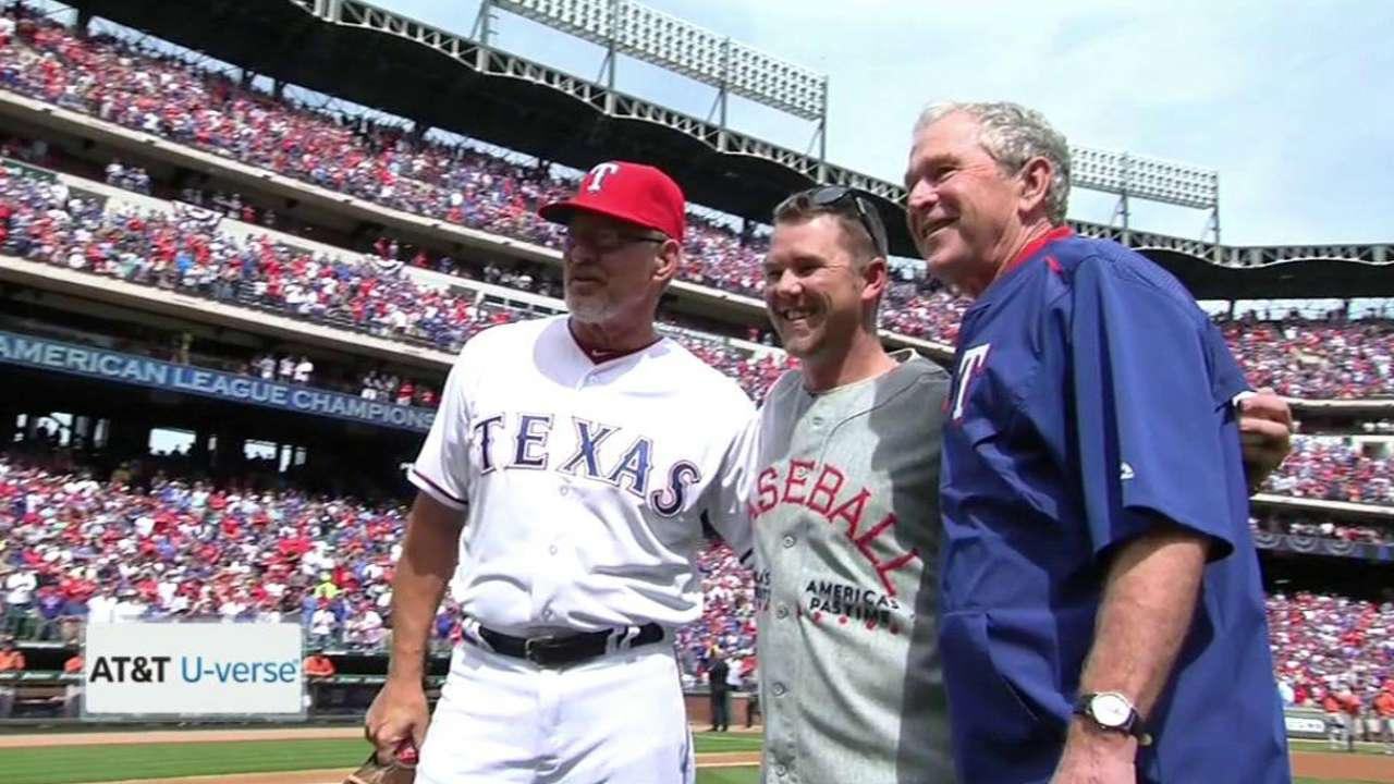 War veteran joined by President Bush for first pitch