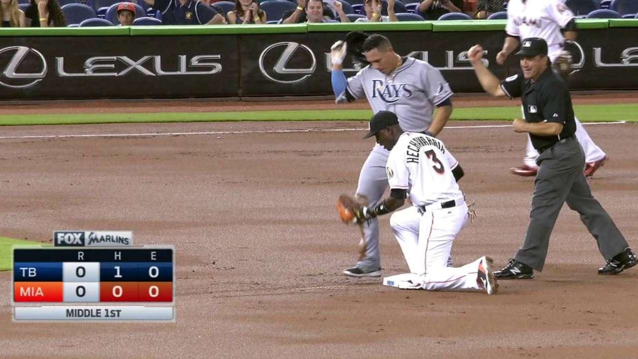 Stanton's throw gets Cabrera