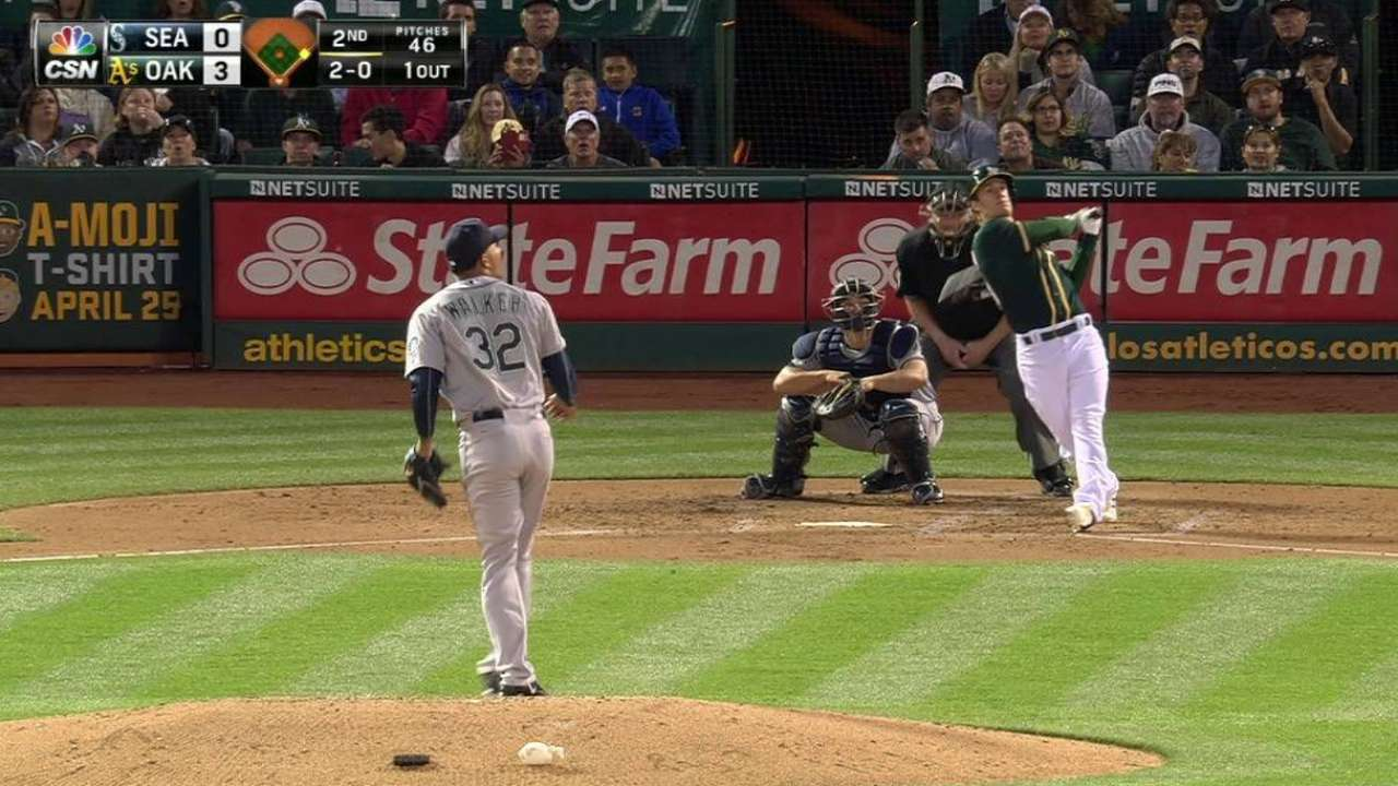 A's lineup, Pomeranz dominate Mariners in rout