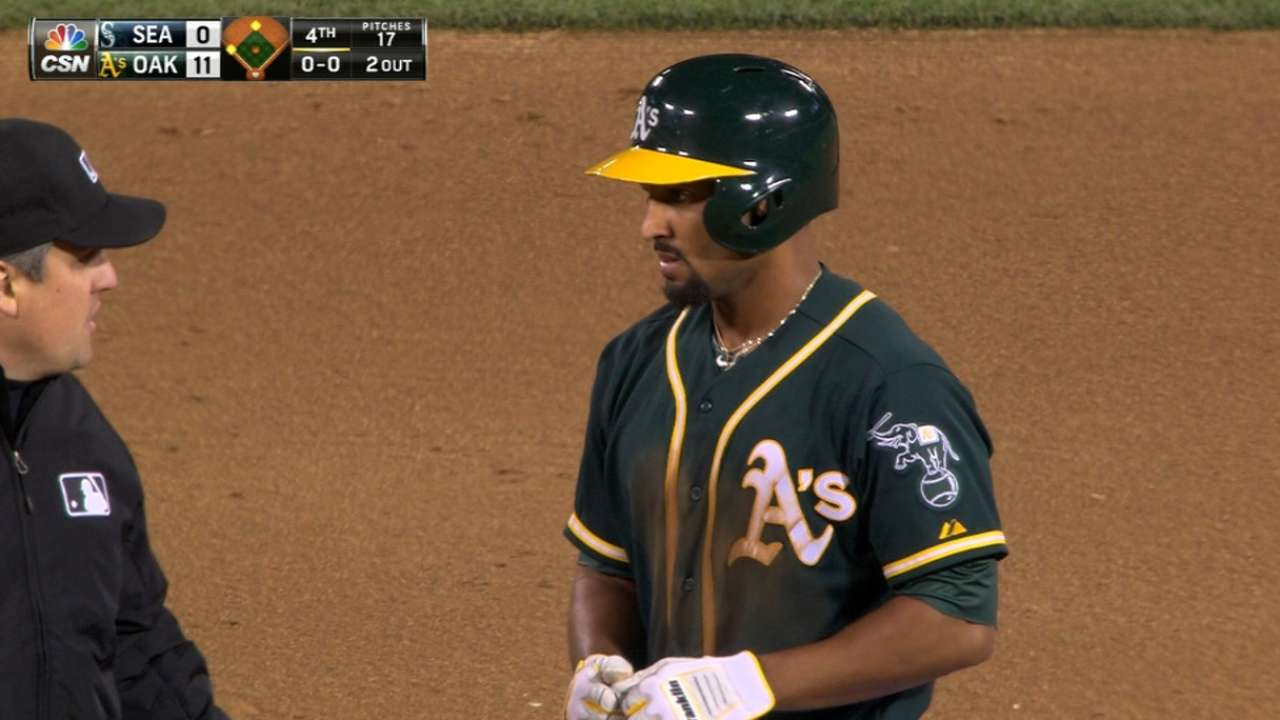 A's score six in the 4th inning