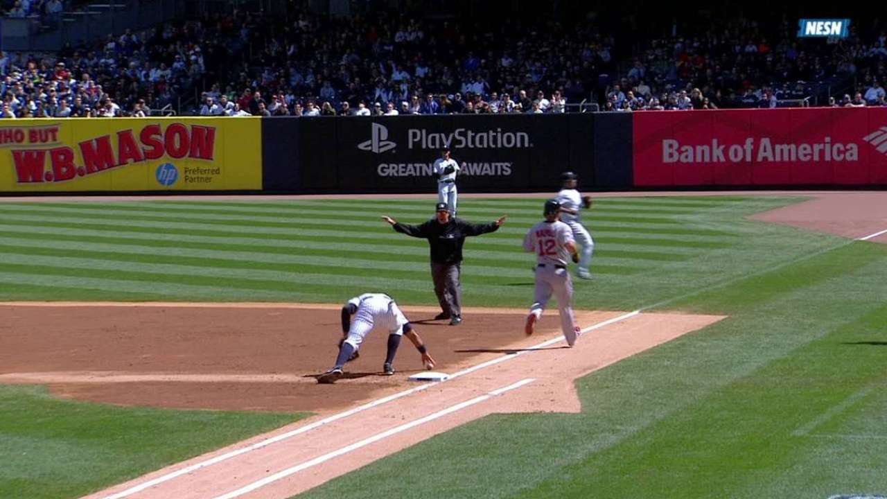 Napoli reaches on A-Rod's error