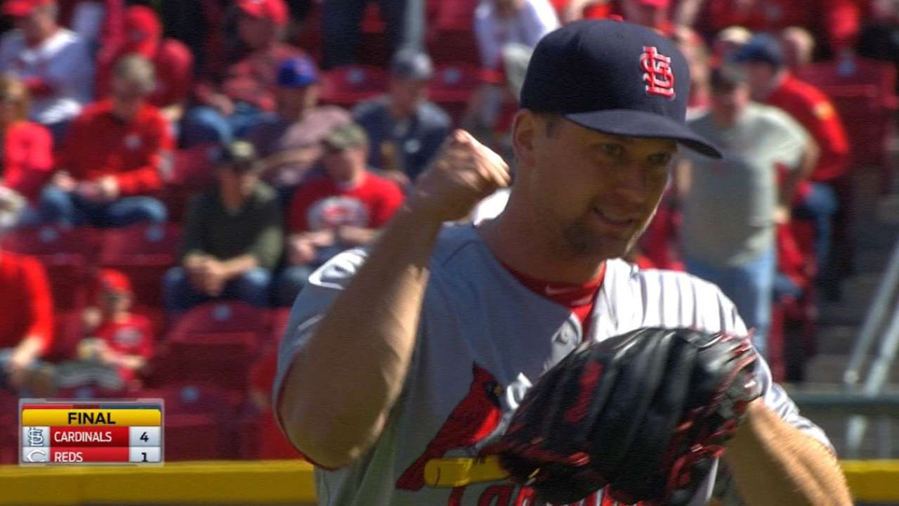 Cards use five relievers in win