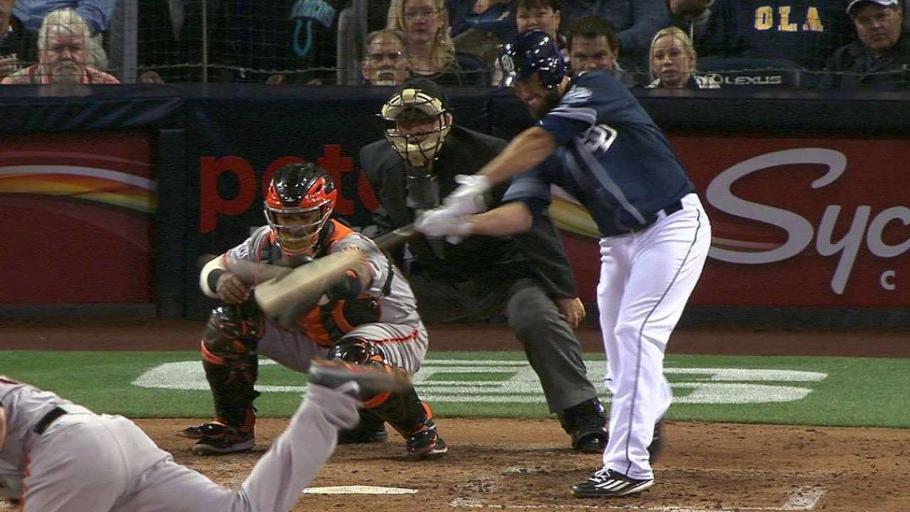 Shields' first hit as a Padre