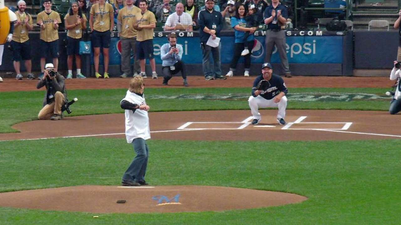 Deer's ceremonial first pitch