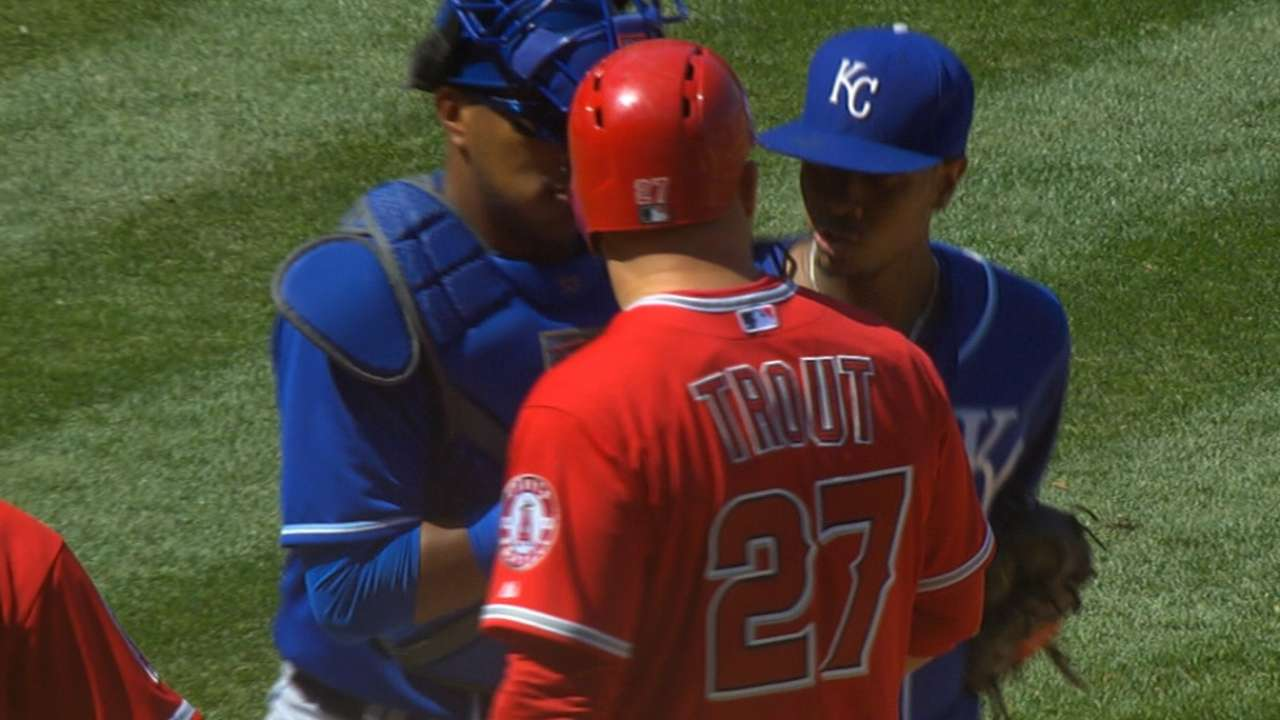 Angels, Royals benches empty