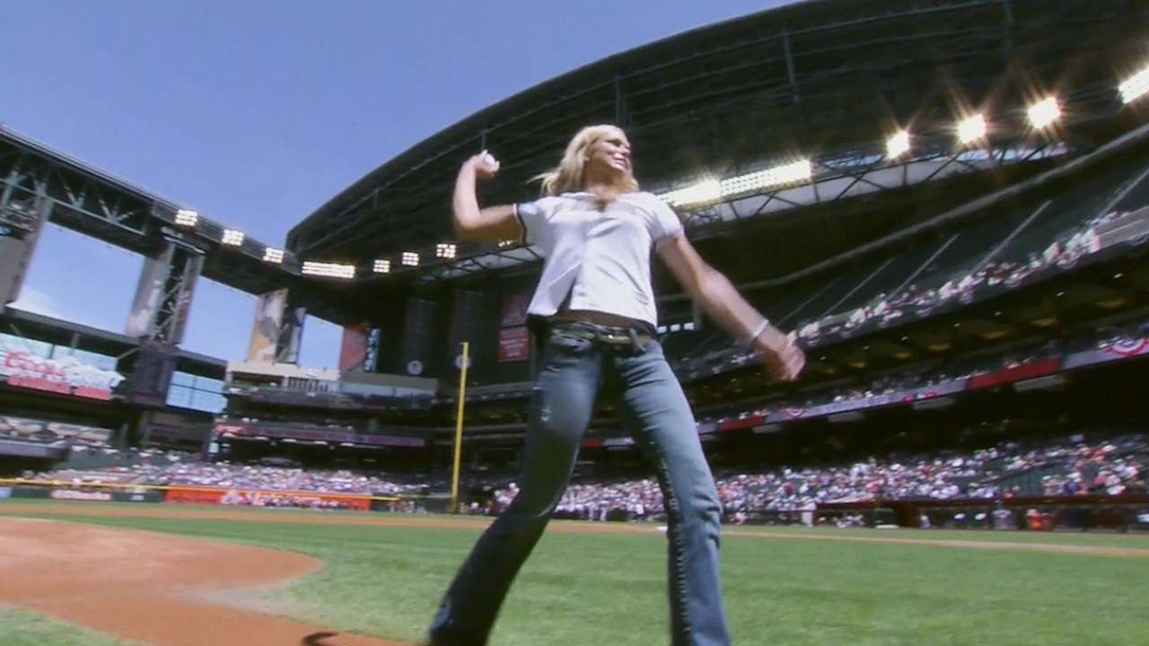 Finch throws out first pitch