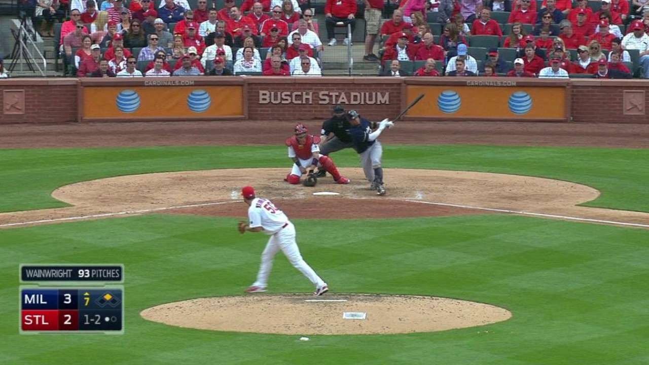Brewers hold off Cardinals in sloppy opener at Busch