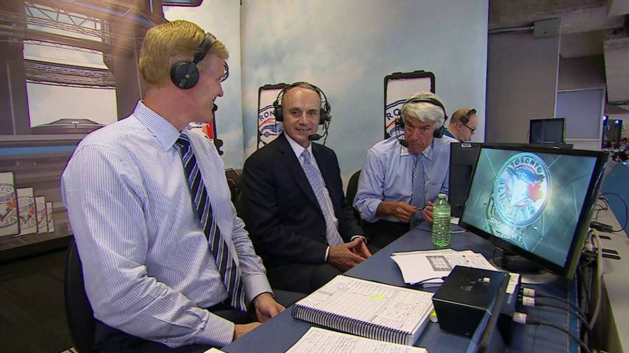 Manfred joins Blue Jays' booth