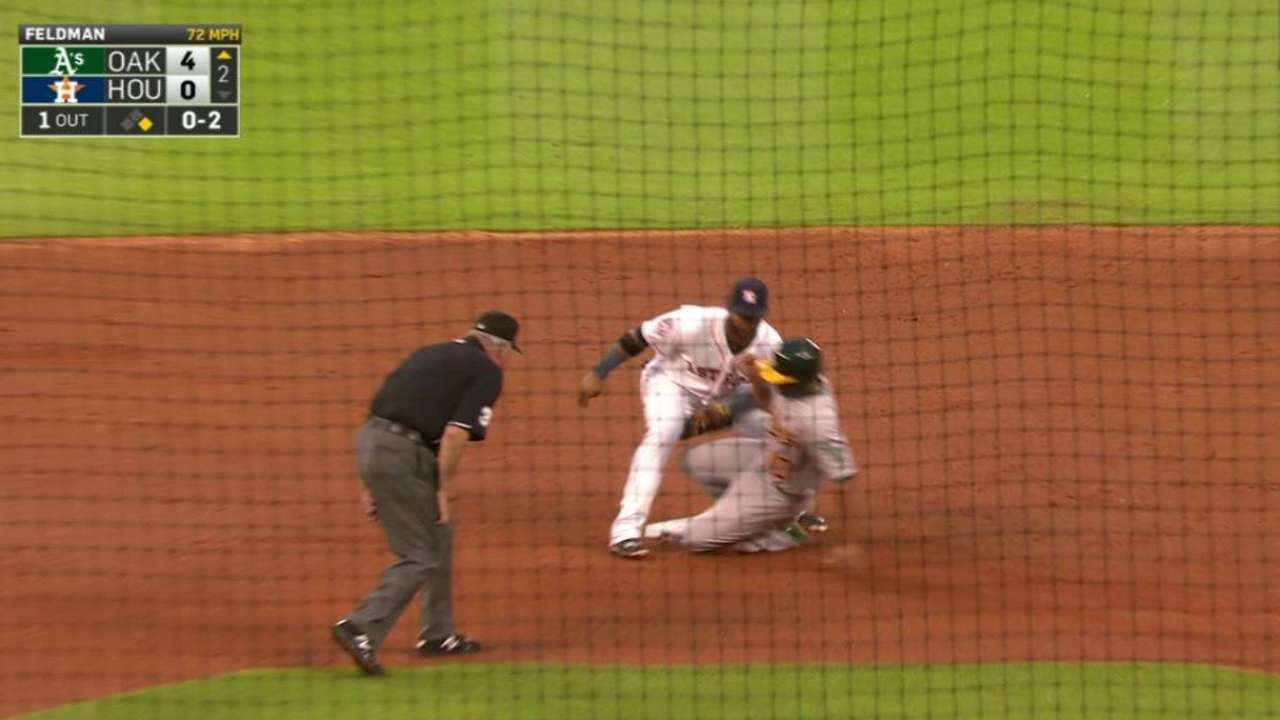 Feldman takes blame despite shaky defense early from Astros