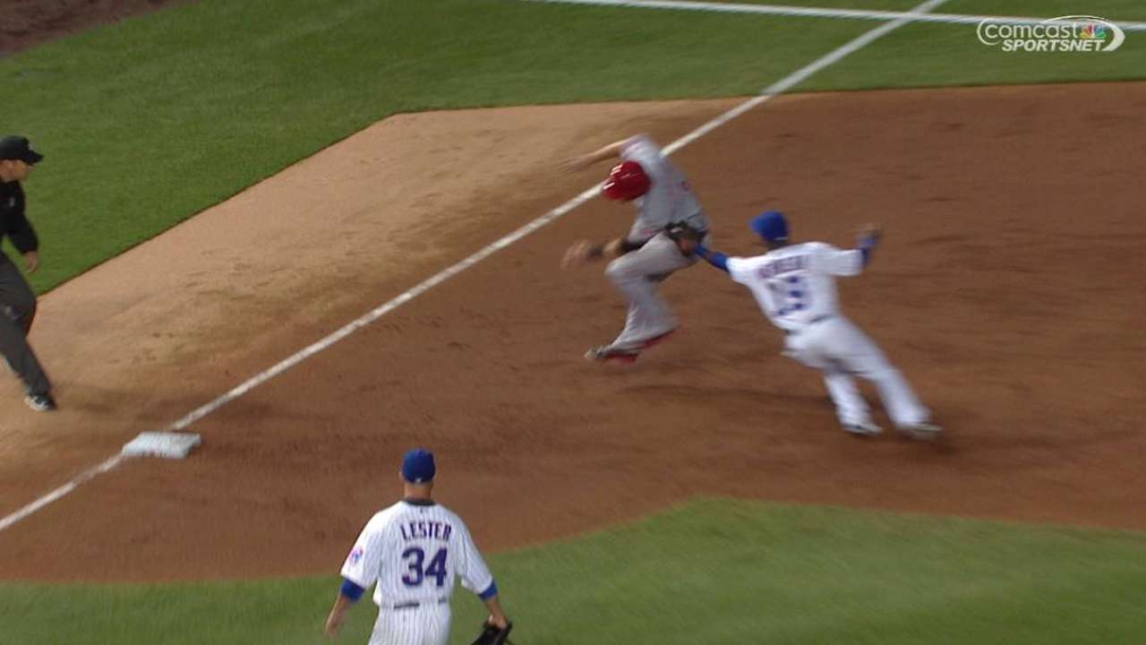 Soler throws out Cozart at third