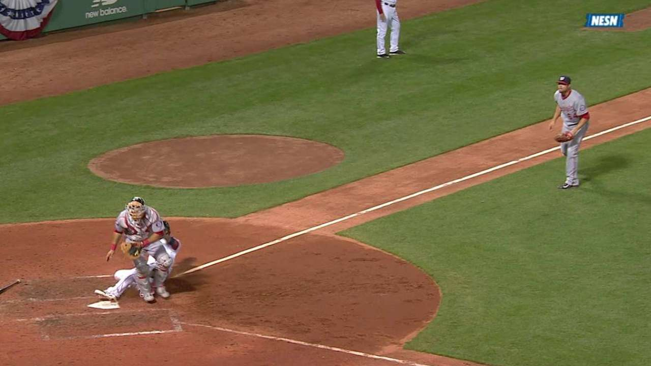 Red Sox tie game on two errors