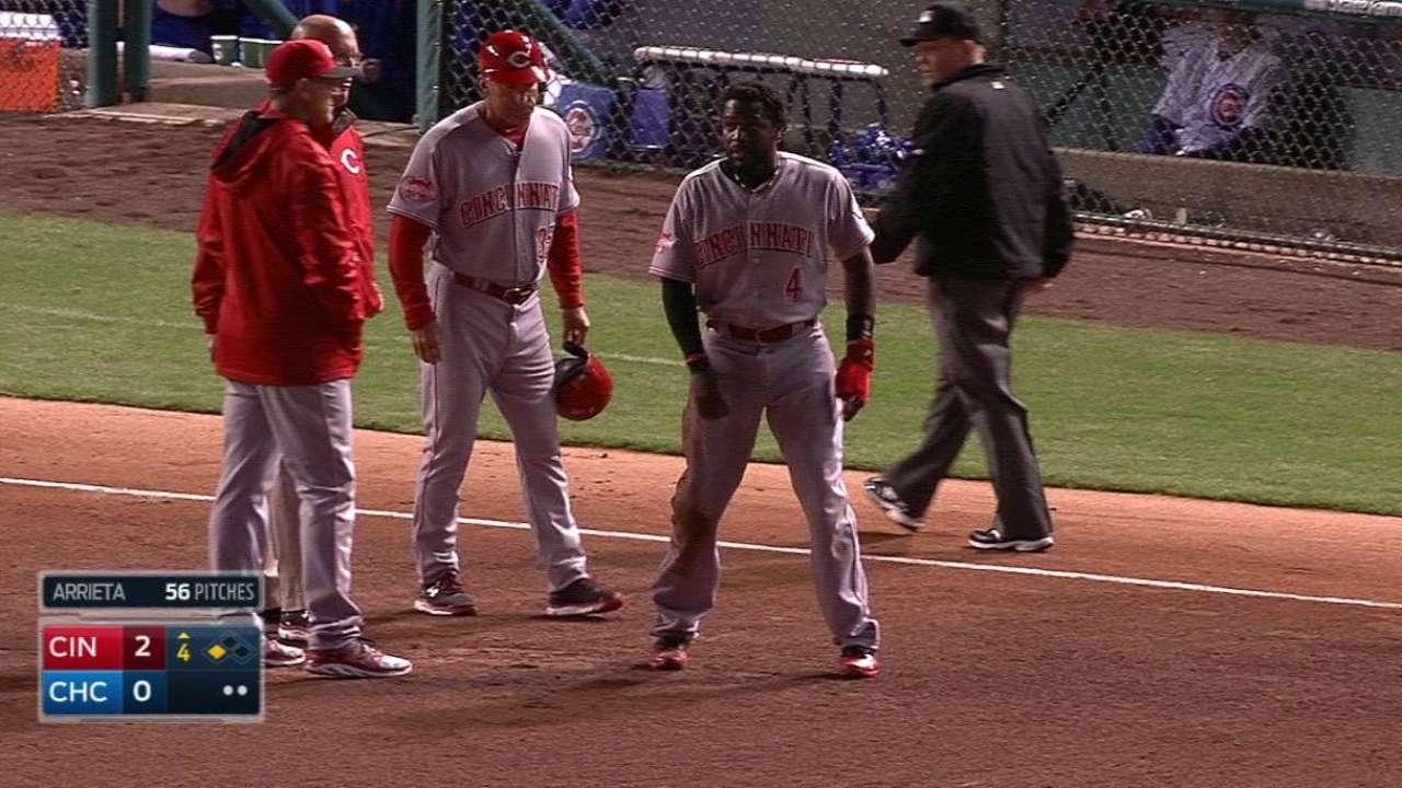 Phillips shaken up at third base
