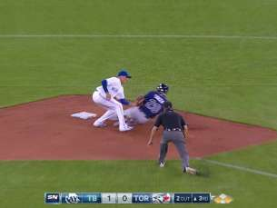 TB@TOR: Sanchez, Martin get inning-ending double play