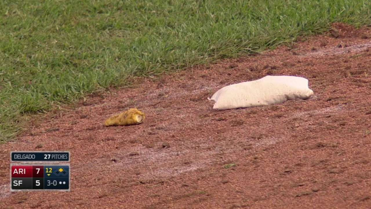Chicken finger drops onto field