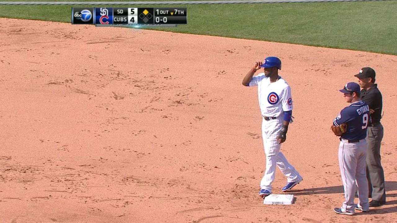 Umpires review double in 7th