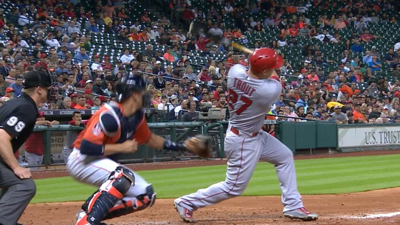 Trout's homers make history, top Astros