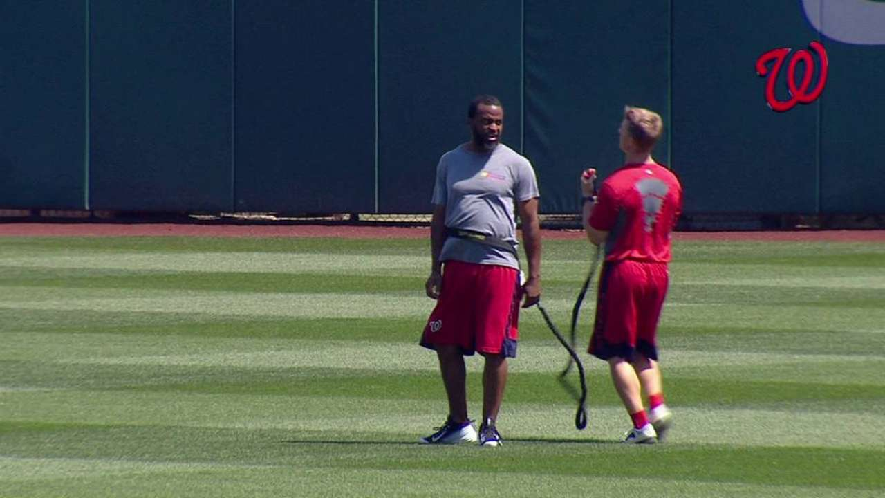 Span works out before game