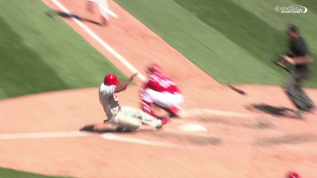 Speed of Revere helps bring end to Phillies' skid