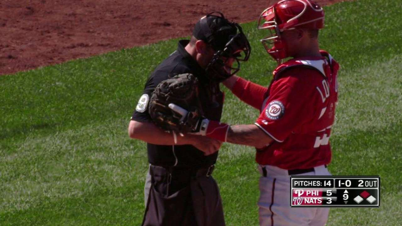 Umpire hit by pitch, leaves Phillies-Nats game in ninth
