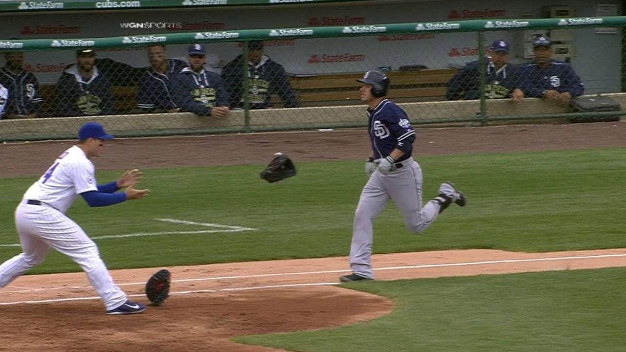 Lester tosses ball, mitt for out