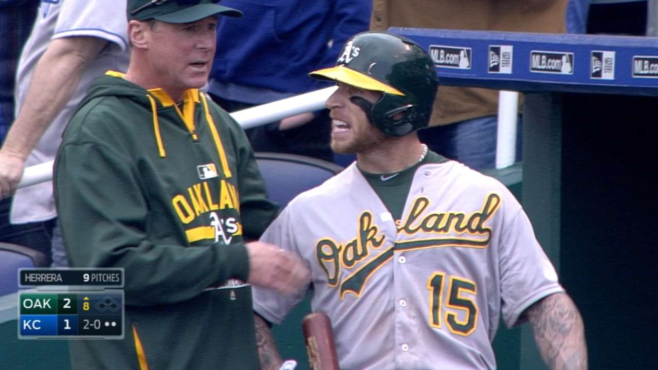 A's discuss tension with Royals