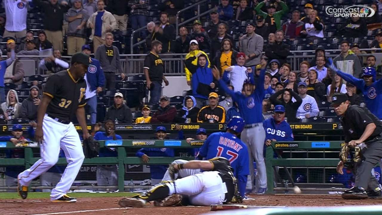 Bryant plates three to lead Cubs past Pirates
