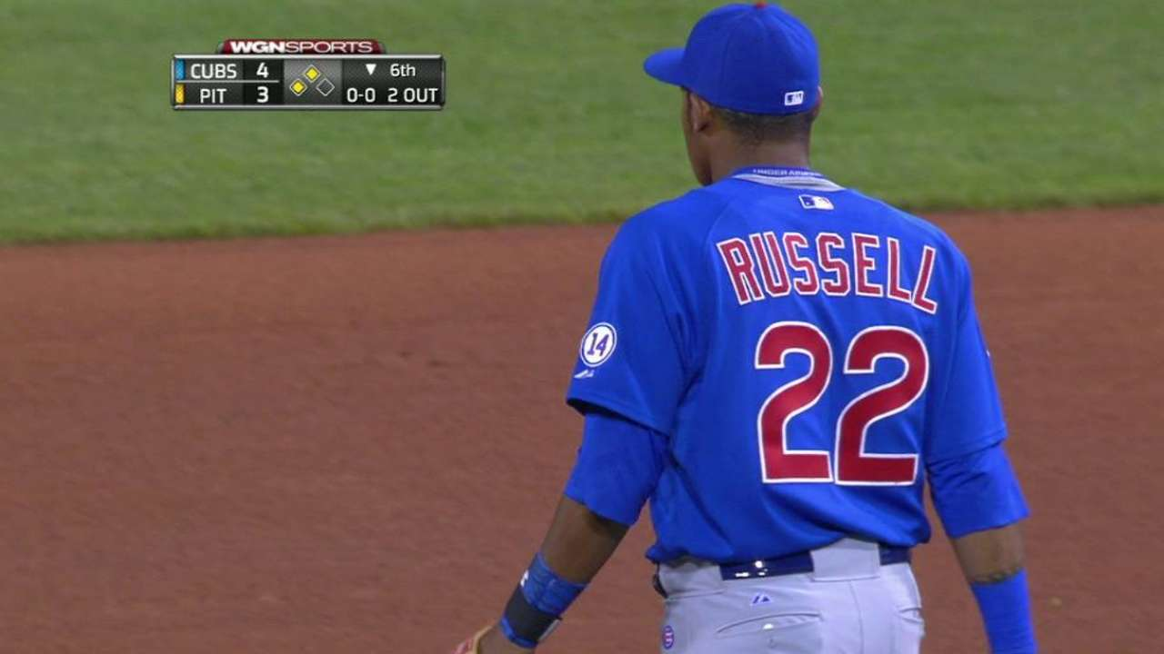 Russell undaunted in first Majors game at second