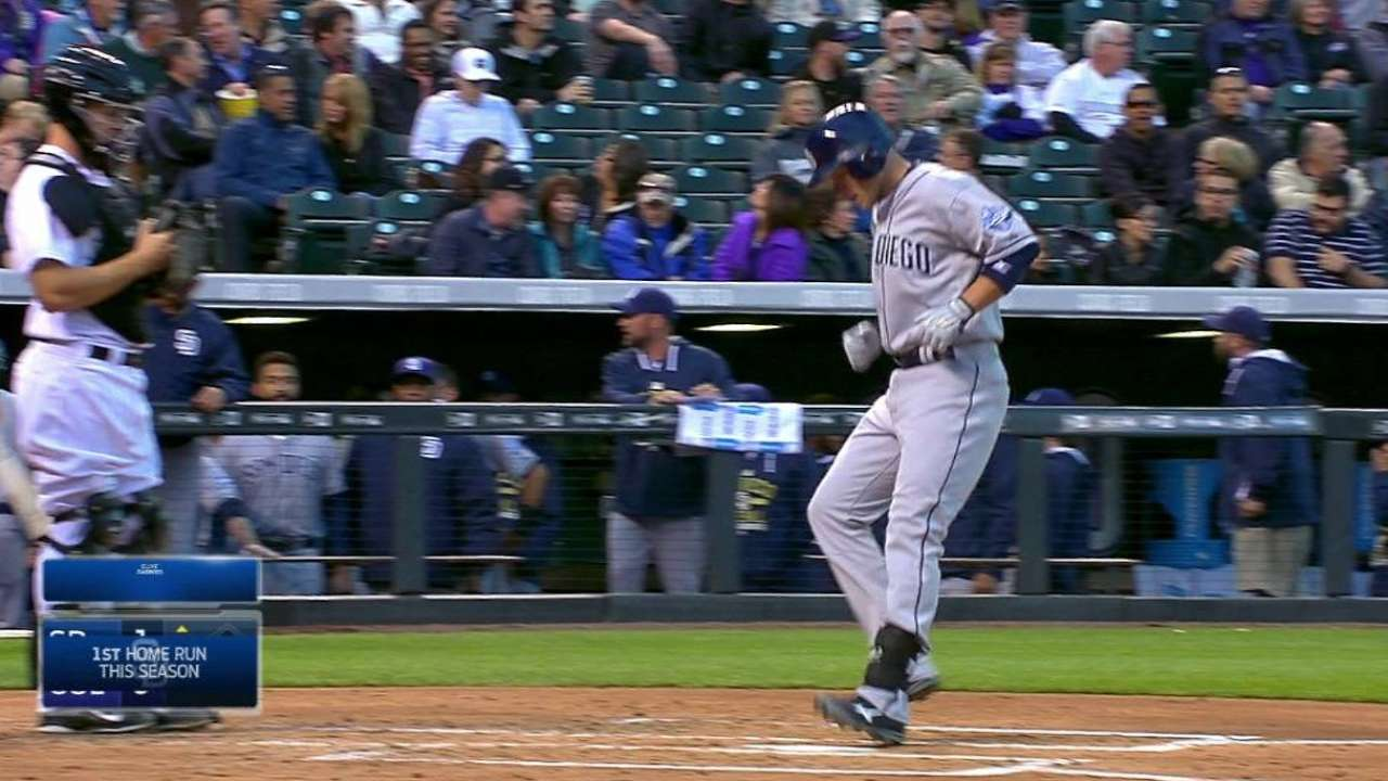 Happy to be back at Coors, Barmes hits first '15 homer