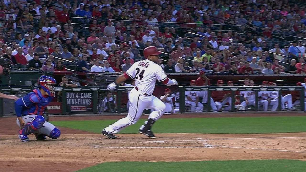Tomas' first hit at Chase Field