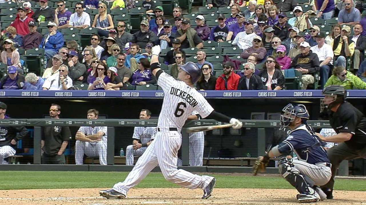 Dickerson leads as Rockies split series with Padres