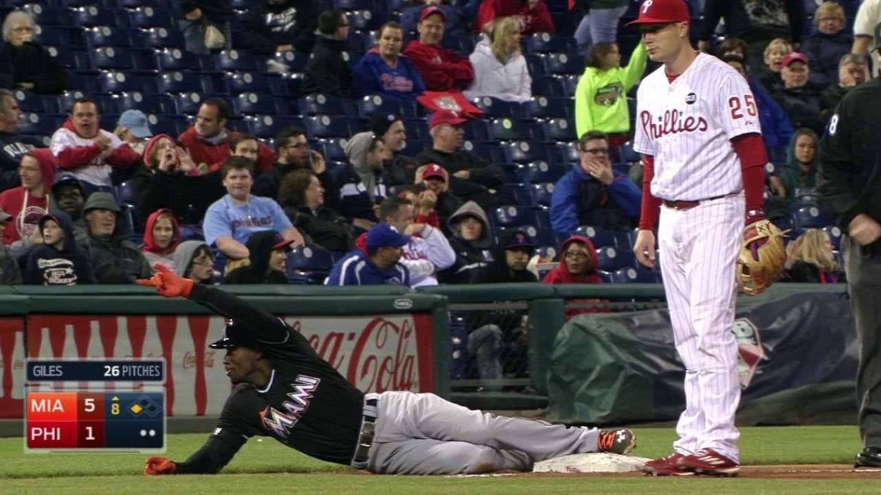 Marlins make most of Phillies miscues, end slide