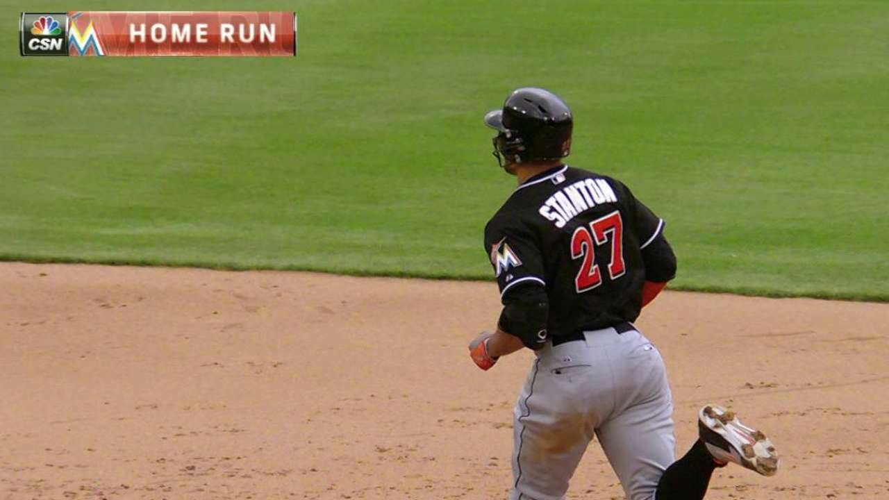Out in a flash: Stanton hits laser shot to left