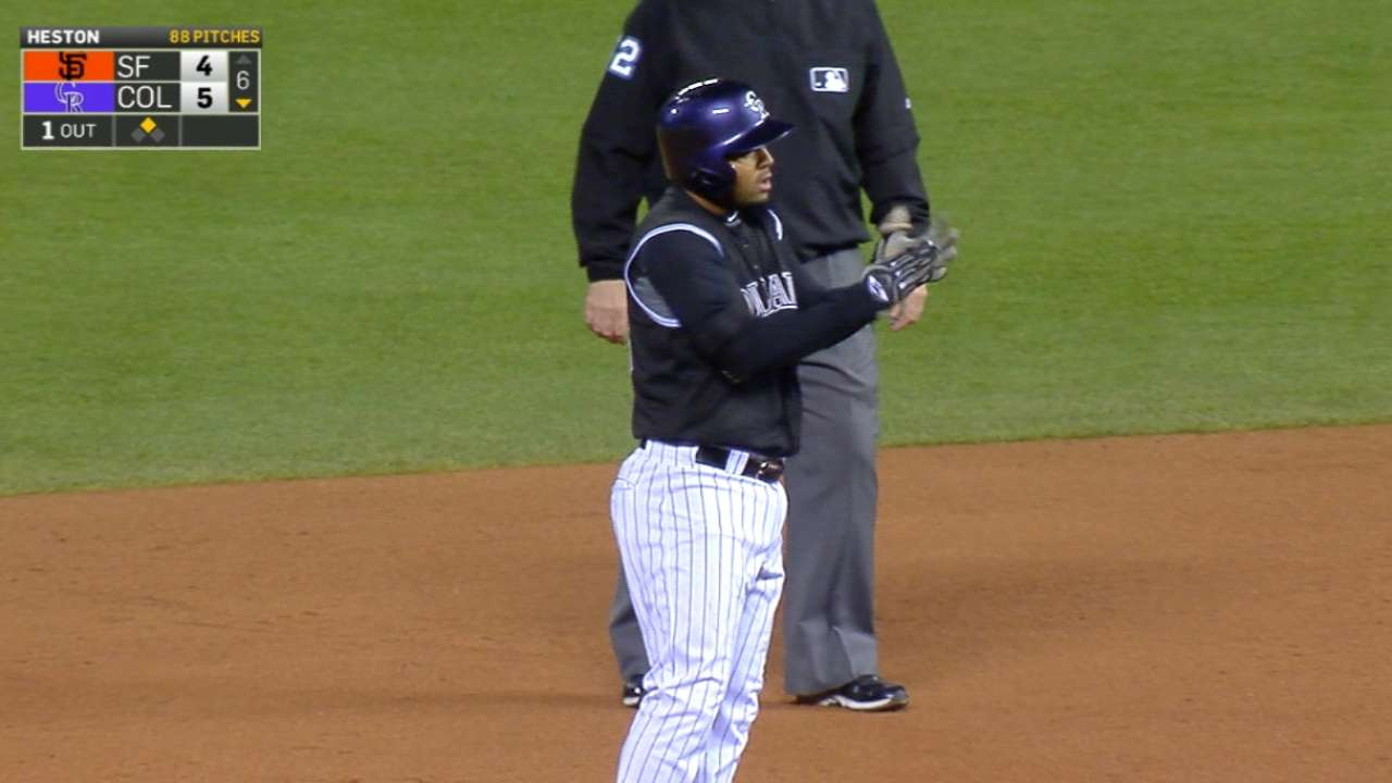 Rockies pound out seven doubles