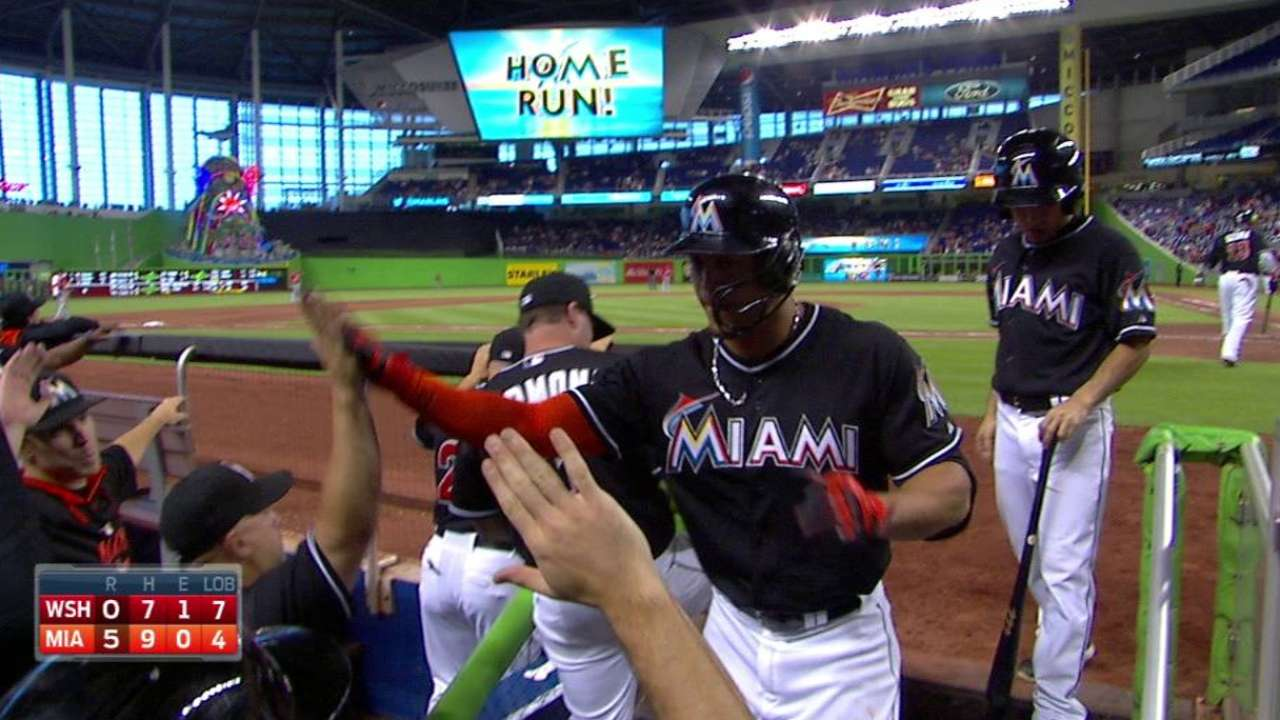 Stanton smashes fifth homer, first at Marlins Park