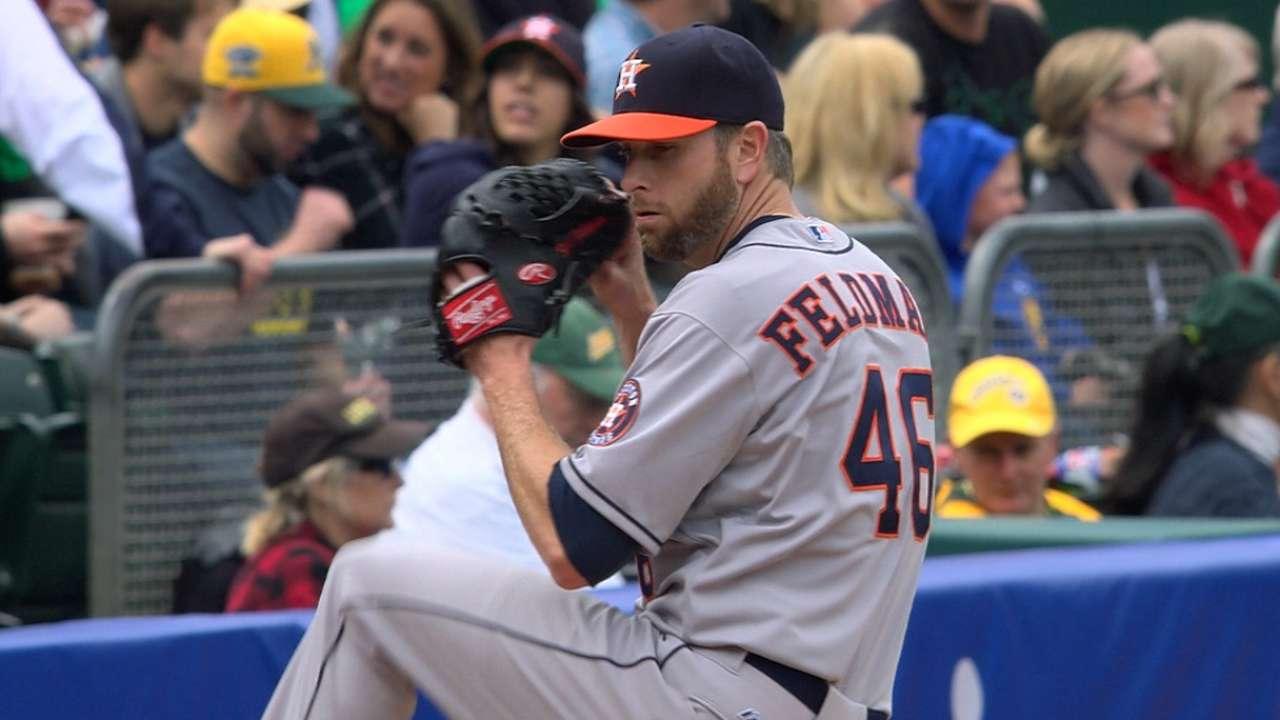 Veteran Feldman appreciates Astros' energy, improvement