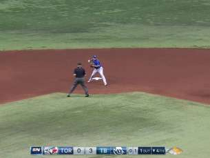 TOR@TB: Donaldson starts a double play in the 4th