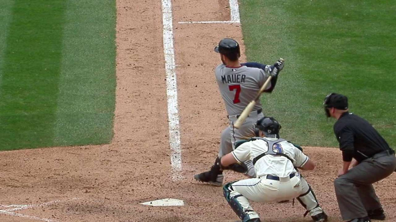 Mauer barrels up for three hits to spark Twins