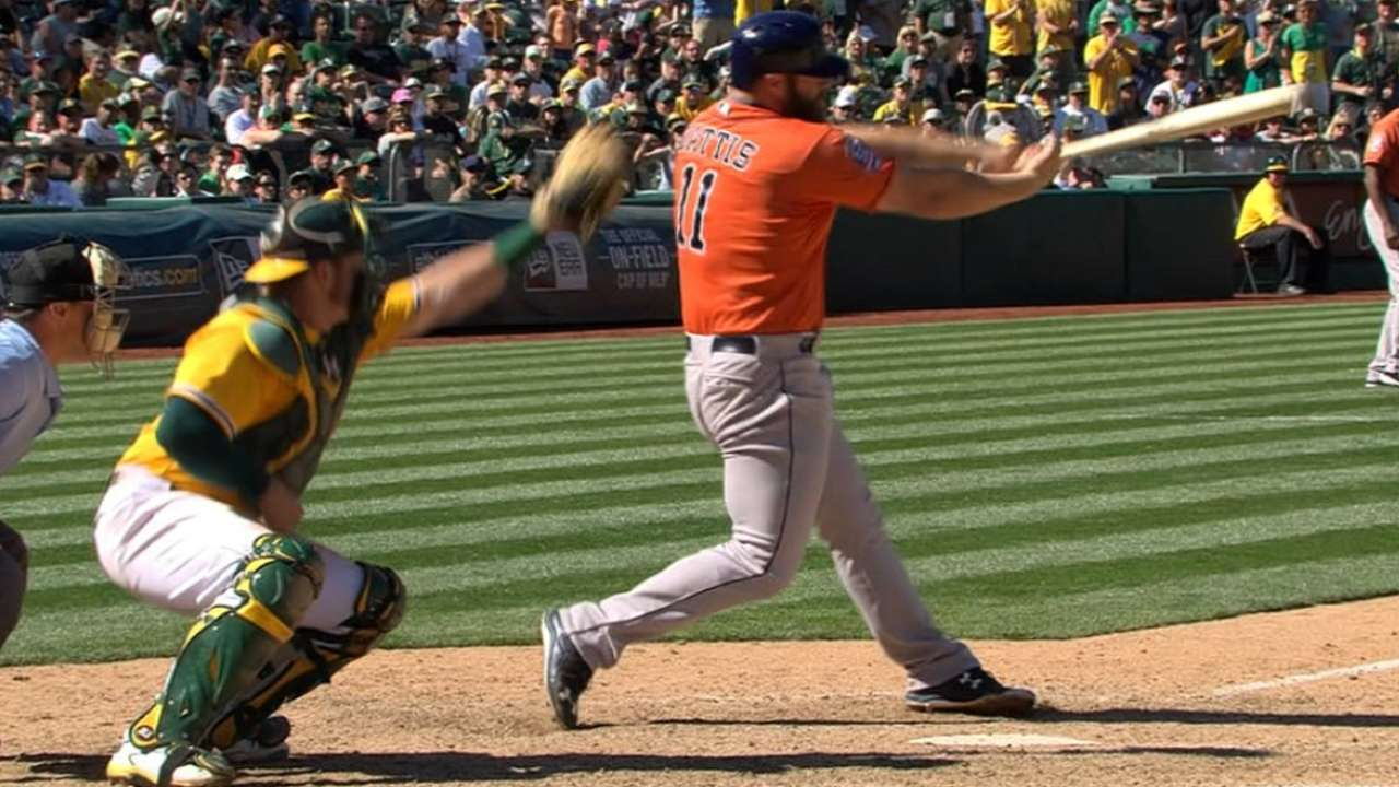 Gattis leads Astros as they sweep A's