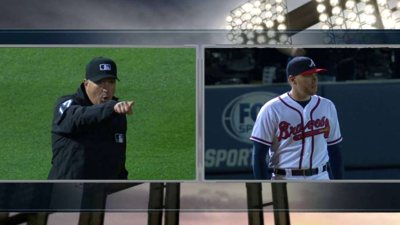 Freeman ejected for arguing checked swing