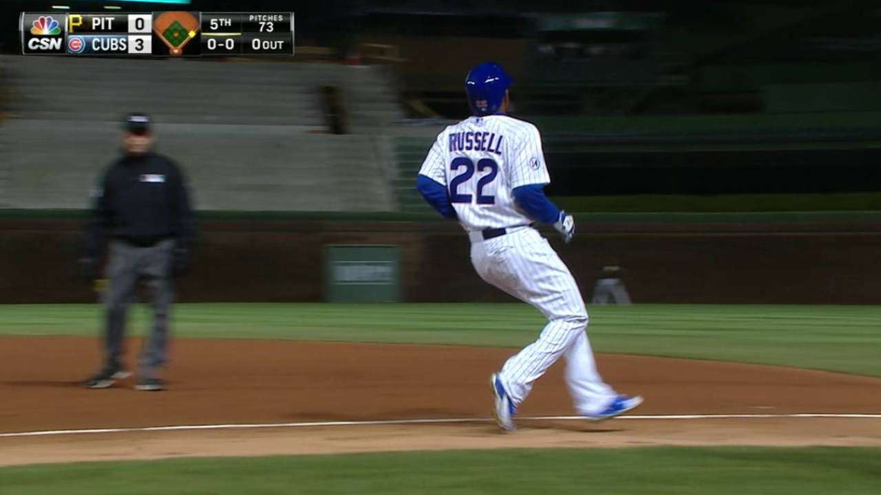 Russell's first Wrigley hit