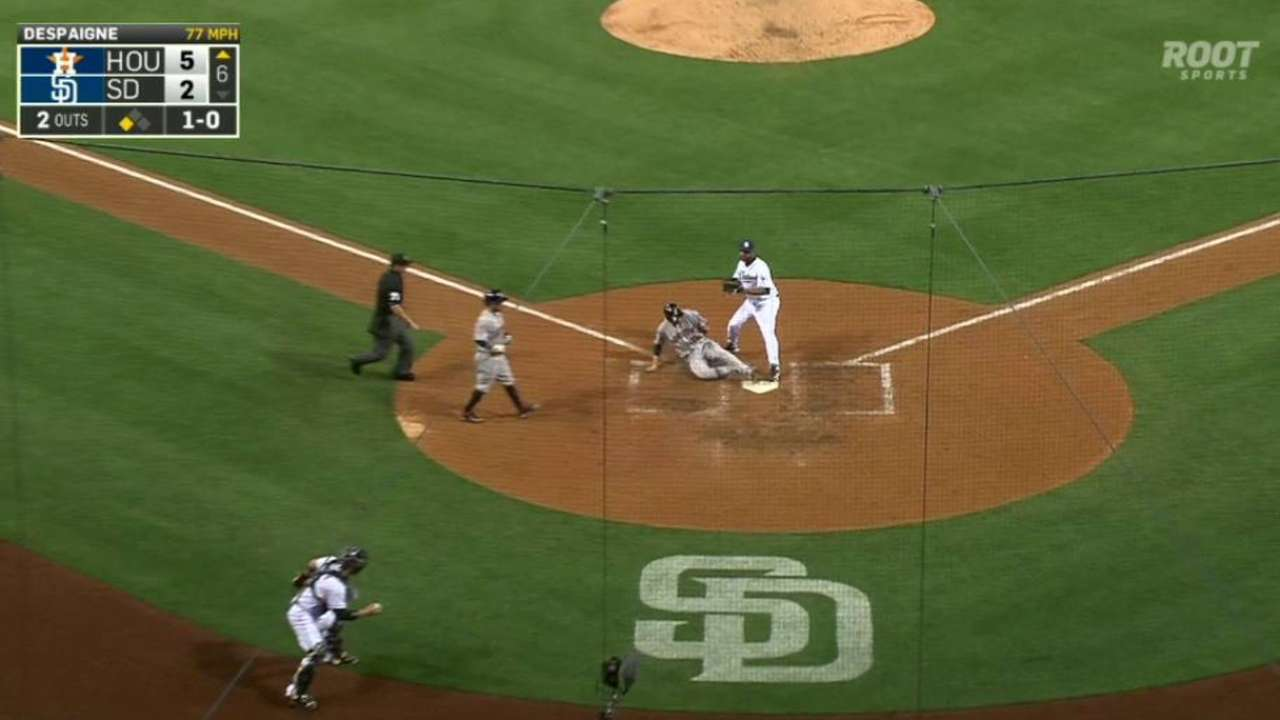 Castro scores on a wild pitch