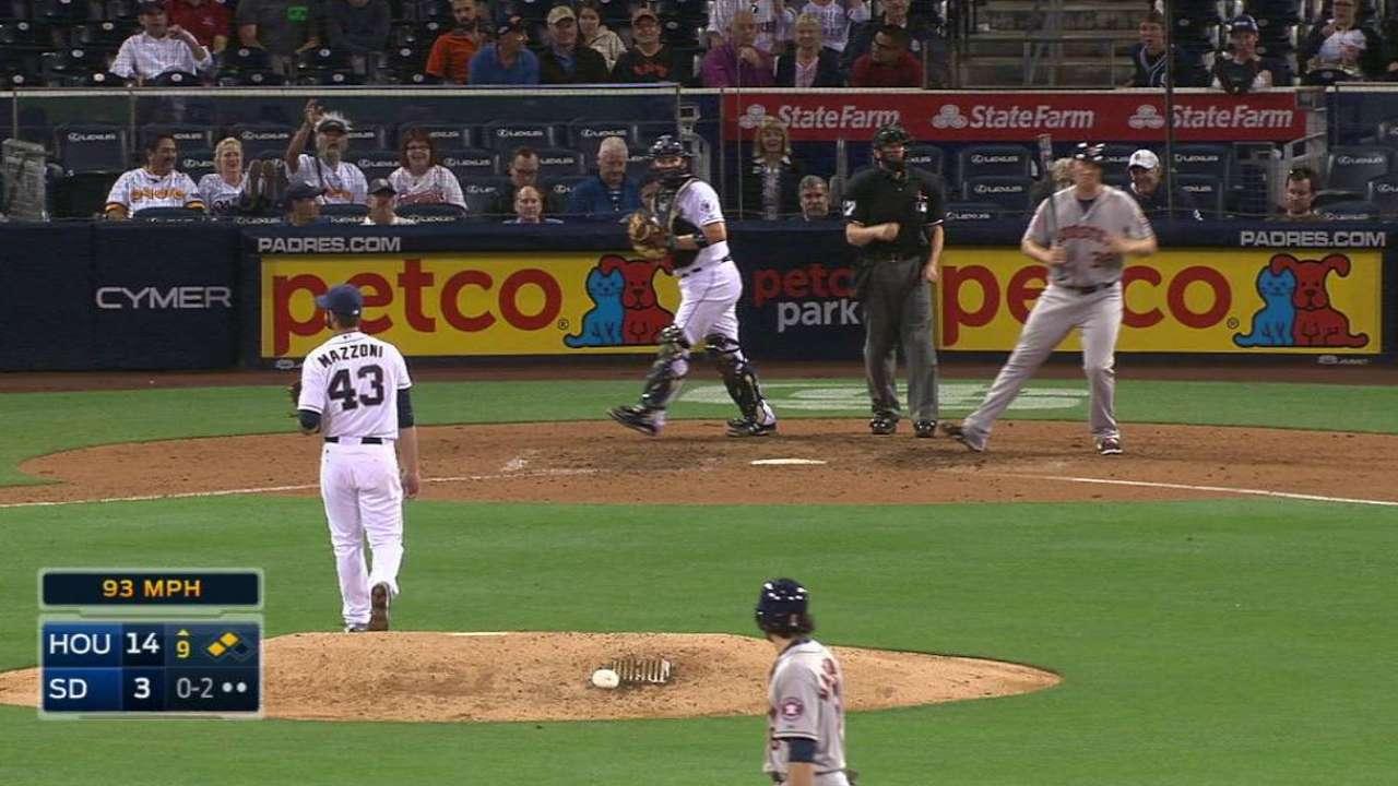 Mazzoni's first MLB strikeout