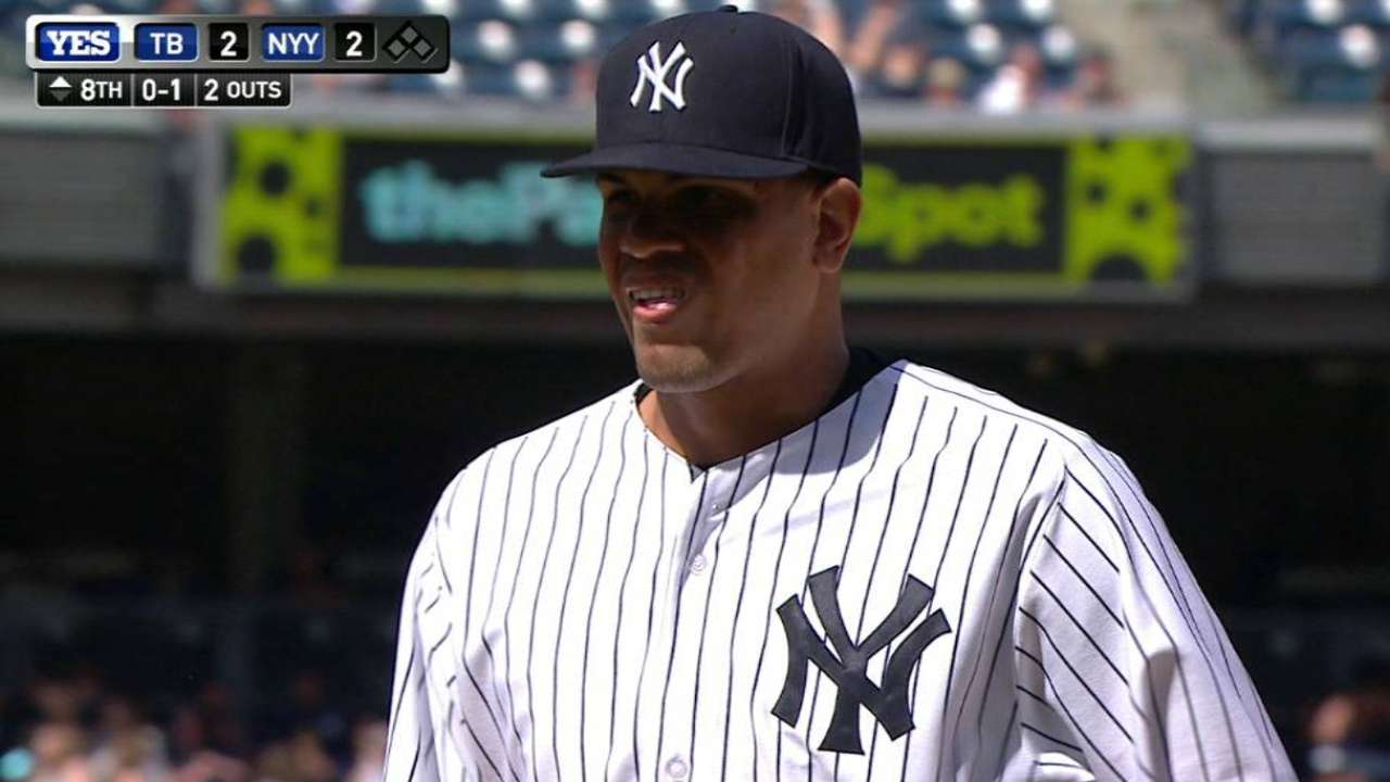 Betances limps off field