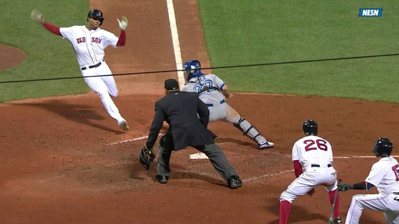 Red Sox, Blue Jays disagree on call at plate