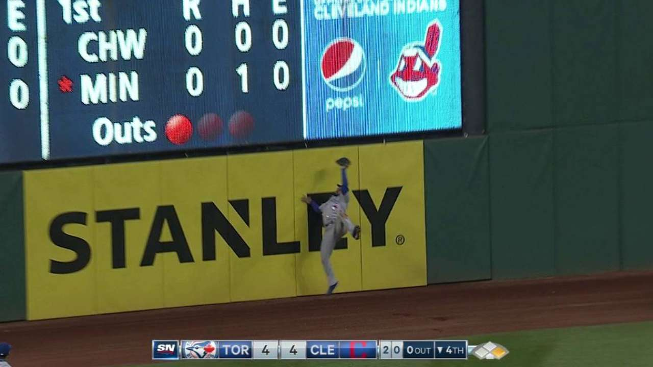 Pillar does it again: Hits wall to make catch